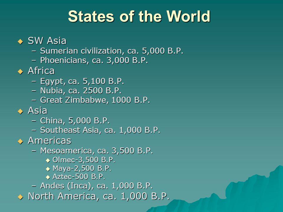 States of the World  SW Asia –Sumerian civilization, ca.