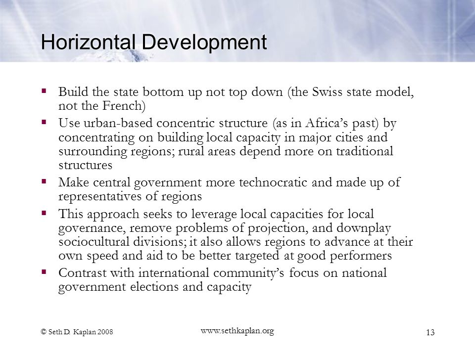 © Seth D. Kaplan 2008 www.sethkaplan.org 13 Horizontal Development  Build the state bottom up not top down (the Swiss state model, not the French) 