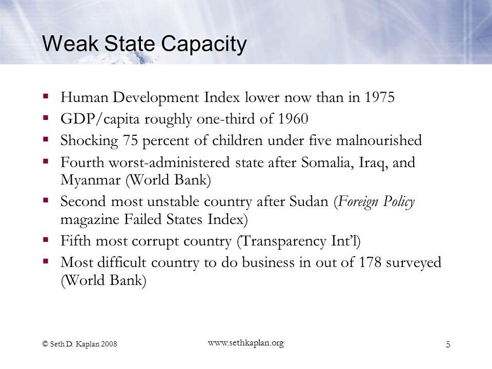 © Seth D. Kaplan 2008 www.sethkaplan.org 5 Weak State Capacity  Human Development Index lower now than in 1975  GDP/capita roughly one-third of 1960