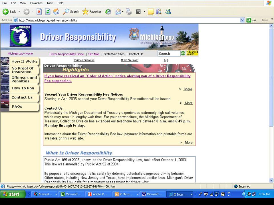 12 WEB PAGE www.michigan.gov/driverresponsibility