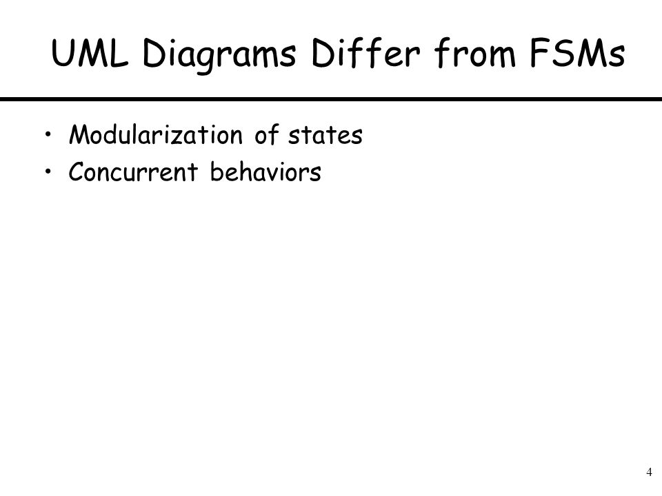 4 UML Diagrams Differ from FSMs Modularization of states Concurrent behaviors