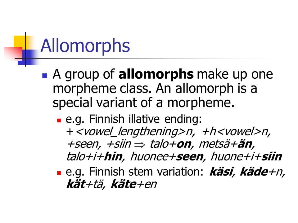Why Allomorphs.Phonological constraints e.g. vowel harmony, talo+ssa vs.