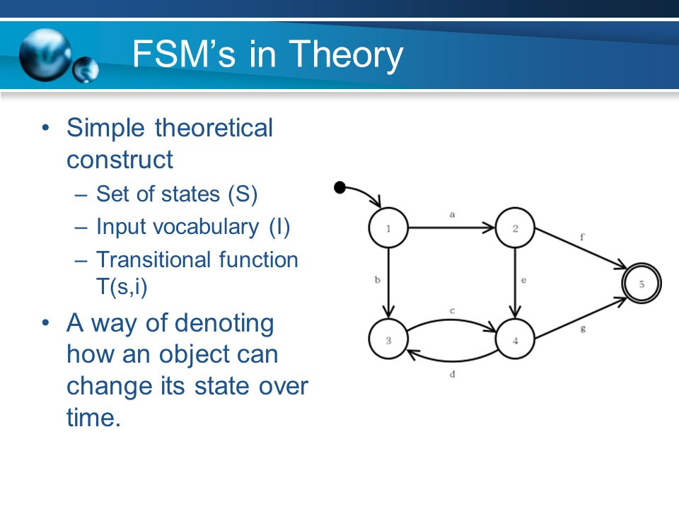 FSM's in Theory Simple theoretical construct –Set of states (S) –Input vocabulary (I) –Transitional function T(s,i) A way of denoting how an object ca