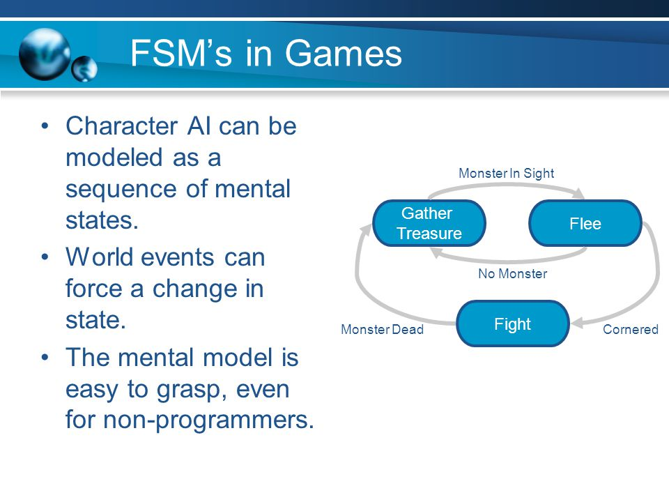 FSM Example States –E: enemy in sight –S: hear a sound –D: dead Events –E: see an enemy –S: hear a sound –D: die Action performed –On each transition –On each update in some states (e.g.