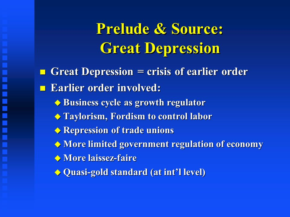 Business Cycle as Regulator when wage  exceeded  of productivity, when wage  exceeded  of productivity, profits dropped (often generated financial crisis) profits dropped (often generated financial crisis) business cut back on I   total output business cut back on I   total output downturn  increased unemployment downturn  increased unemployment  downward pressure on wages  downward pressure on wages  restoration of profits, investment & growth  restoration of profits, investment & growth