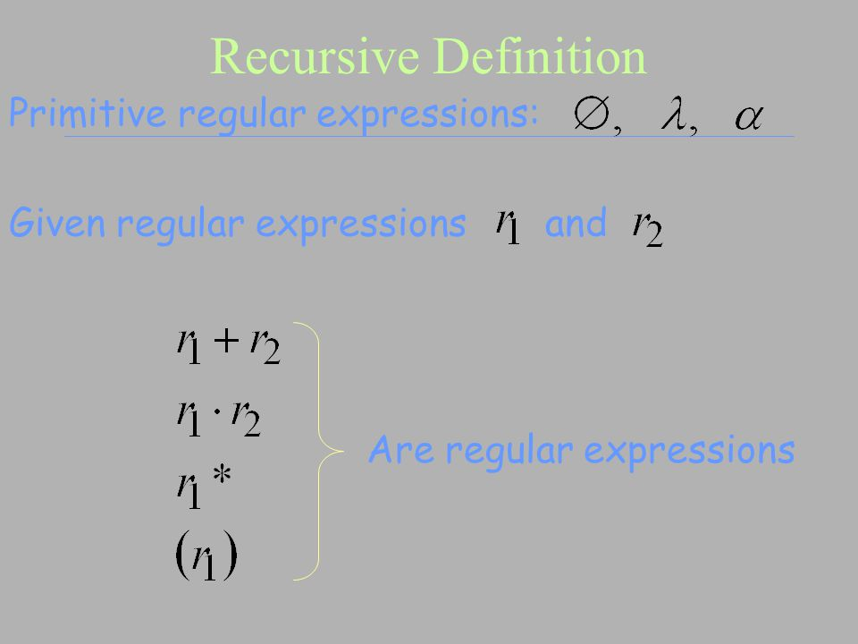 Recursive Definition Are regular expressions Primitive regular expressions: Given regular expressions and