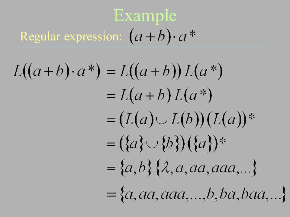 Example Regular expression:
