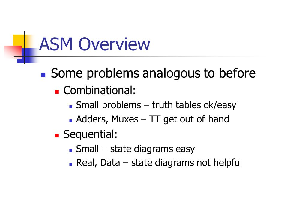 ASM Overview Some problems analogous to before Combinational: Small problems – truth tables ok/easy Adders, Muxes – TT get out of hand Sequential: Small – state diagrams easy Real, Data – state diagrams not helpful