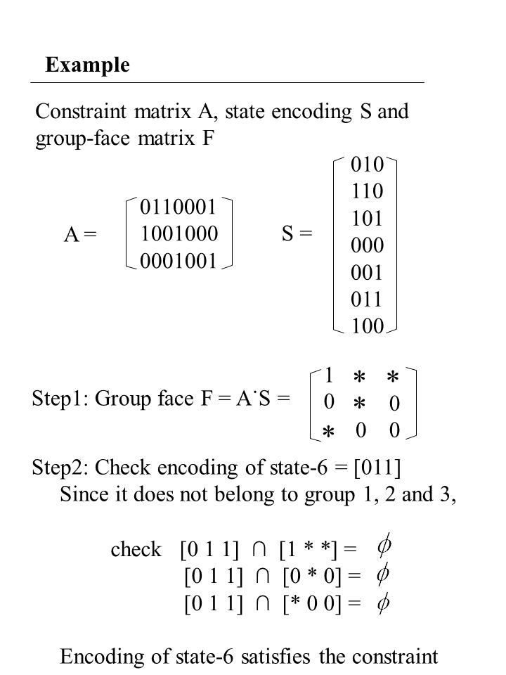 Example Constraint matrix A, state encoding S and group-face matrix F A = 0110001 1001000 0001001 010 110 101 000 001 011 100 S = Step1: Group face F = A˙S = 1 ** 0 * * 00 0 Step2: Check encoding of state-6 = [011] Since it does not belong to group 1, 2 and 3, Encoding of state-6 satisfies the constraint check [0 1 1] ∩ [1 * *] = [0 1 1] ∩ [0 * 0] = [0 1 1] ∩ [* 0 0] =