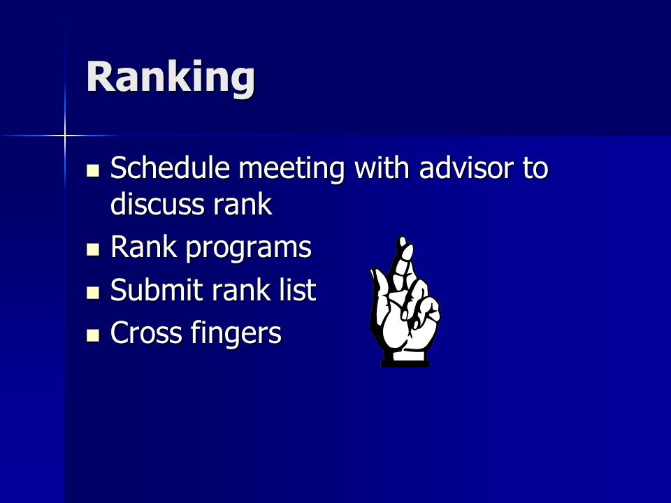 Ranking Schedule meeting with advisor to discuss rank Schedule meeting with advisor to discuss rank Rank programs Rank programs Submit rank list Submit rank list Cross fingers Cross fingers