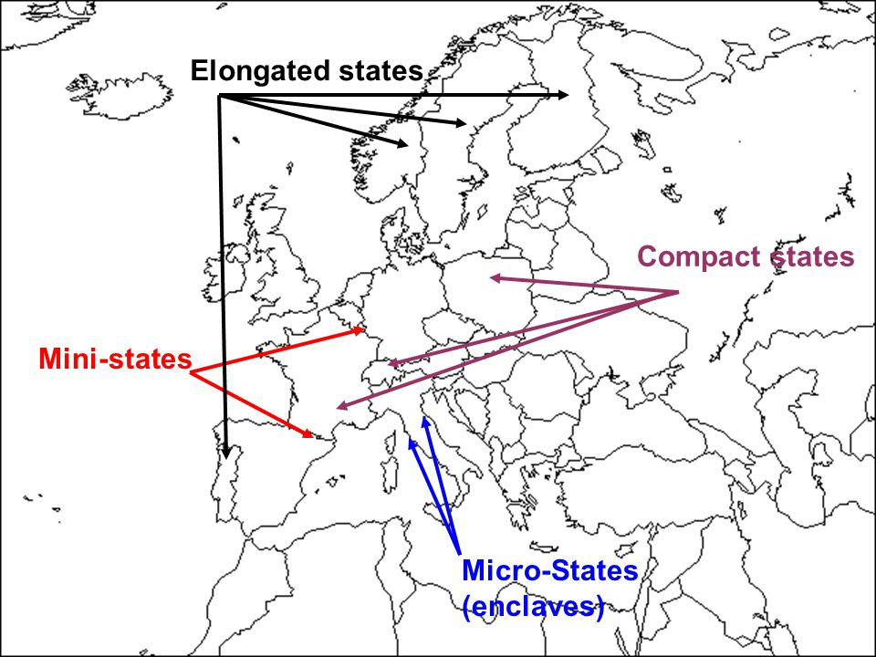 13 Micro-States (enclaves) Mini-states Compact states Elongated states