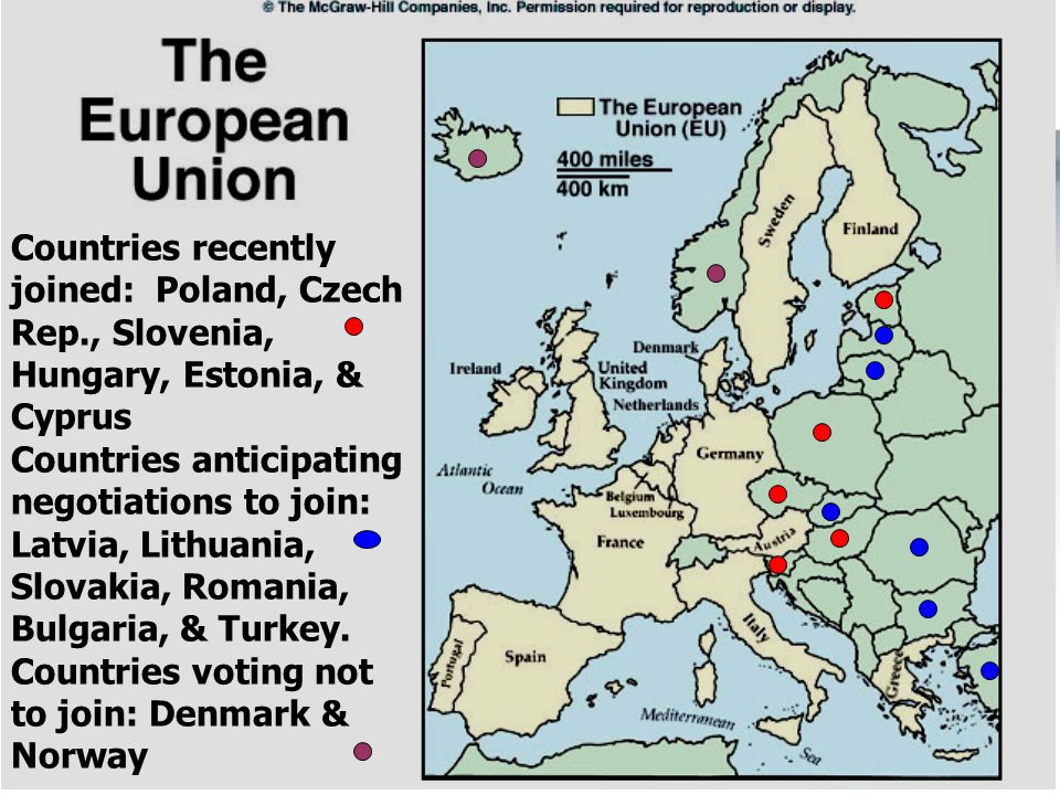 23 Countries recently joined: Poland, Czech Rep., Slovenia, Hungary, Estonia, & Cyprus Countries anticipating negotiations to join: Latvia, Lithuania,