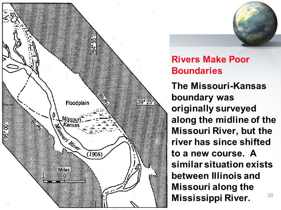28 Rivers Make Poor Boundaries The Missouri-Kansas boundary was originally surveyed along the midline of the Missouri River, but the river has since shifted to a new course.