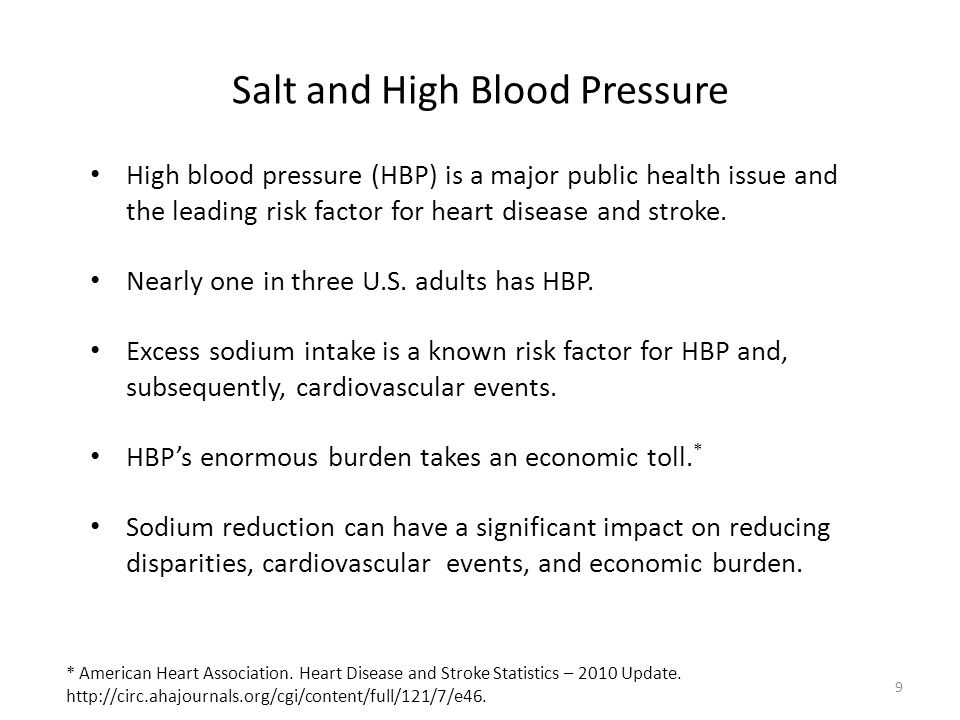 9 Salt and High Blood Pressure High blood pressure (HBP) is a major public health issue and the leading risk factor for heart disease and stroke.