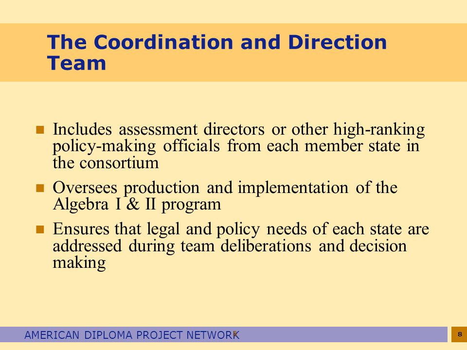 8 AMERICAN DIPLOMA PROJECT NETWORK 8 The Coordination and Direction Team n Includes assessment directors or other high-ranking policy-making officials from each member state in the consortium n Oversees production and implementation of the Algebra I & II program n Ensures that legal and policy needs of each state are addressed during team deliberations and decision making