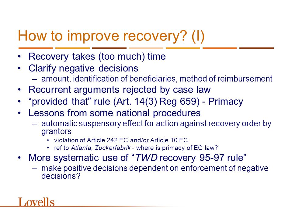 How to improve recovery.