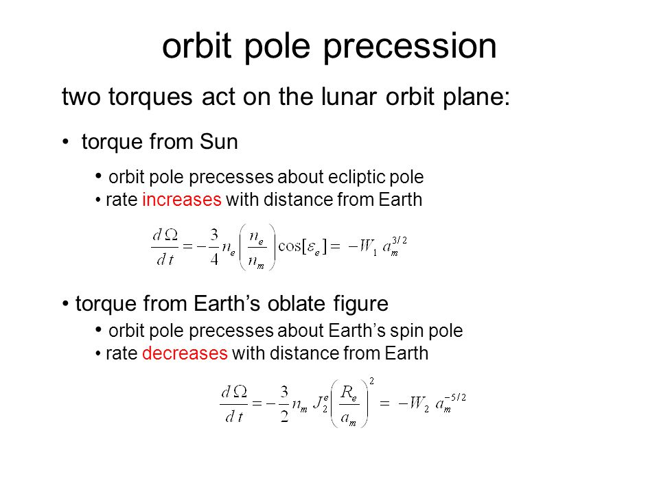 two torques act on the lunar orbit plane: torque from Sun orbit pole precesses about ecliptic pole rate increases with distance from Earth torque from Earth's oblate figure orbit pole precesses about Earth's spin pole rate decreases with distance from Earth orbit pole precession