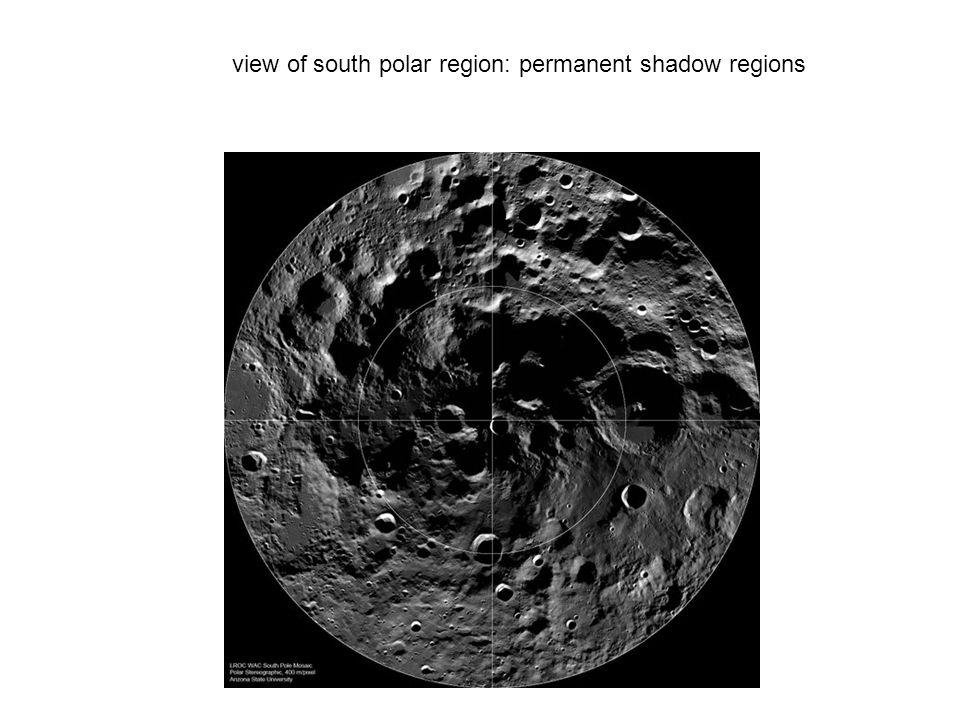 view of south polar region: permanent shadow regions