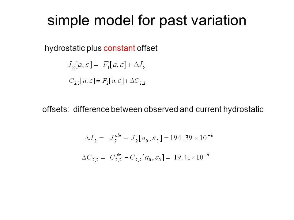 simple model for past variation hydrostatic plus constant offset offsets: difference between observed and current hydrostatic