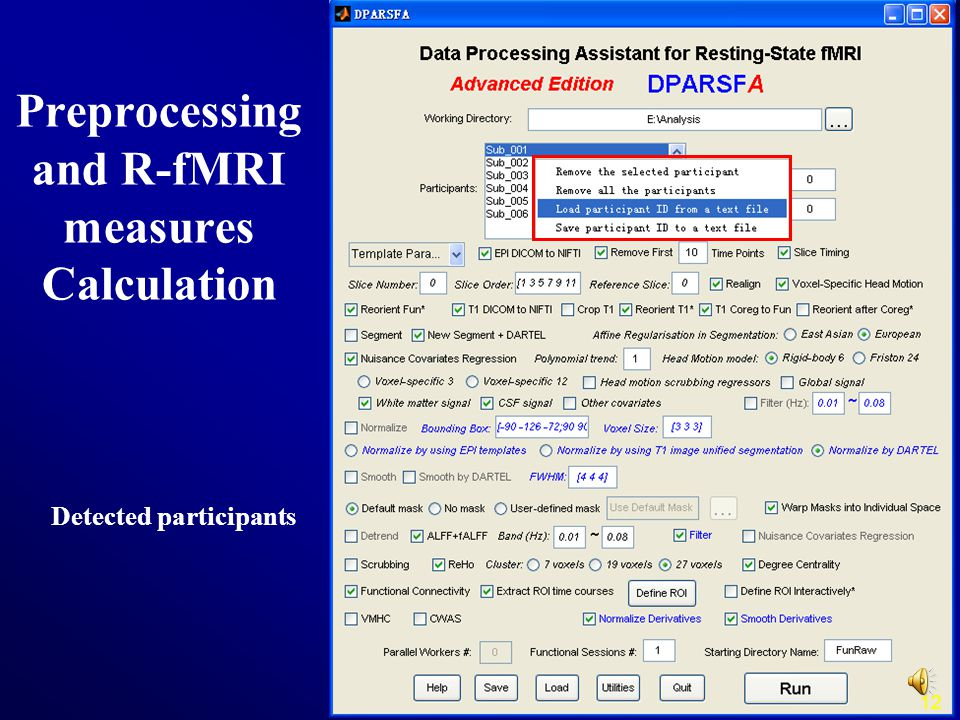 Preprocessing and R-fMRI measures Calculation Detected participants 12