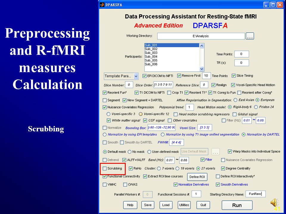 41 Scrubbing Preprocessing and R-fMRI measures Calculation