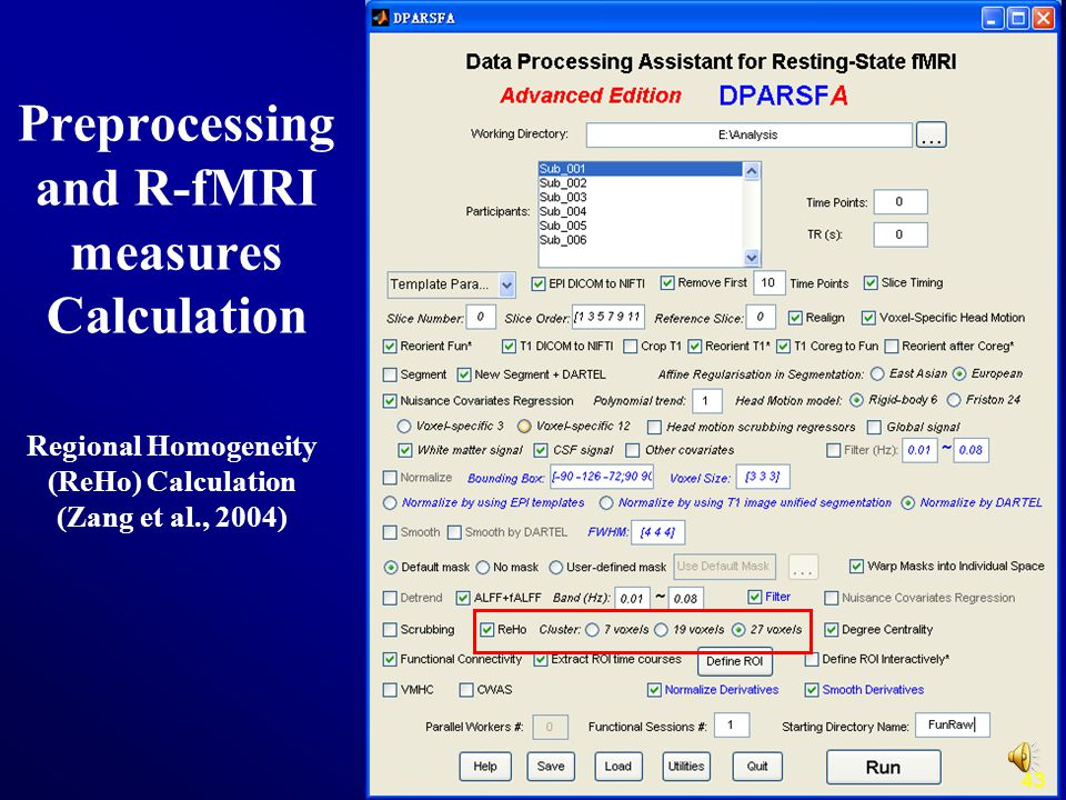 43 Regional Homogeneity (ReHo) Calculation (Zang et al., 2004) Preprocessing and R-fMRI measures Calculation