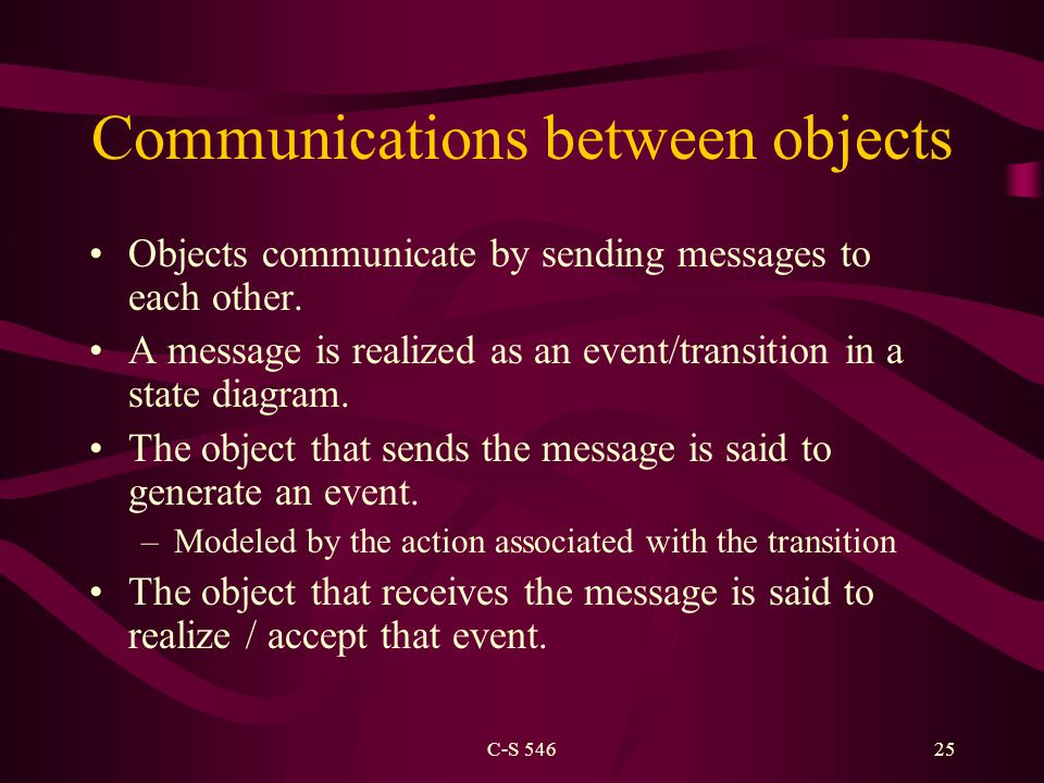 C-S 54625 Communications between objects Objects communicate by sending messages to each other. A message is realized as an event/transition in a stat