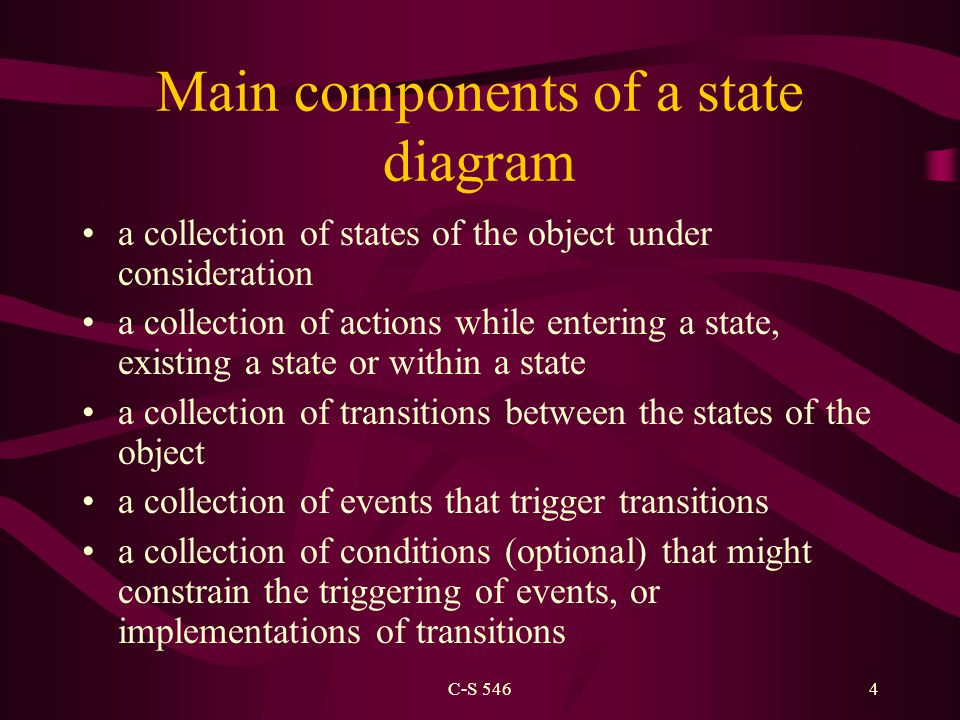 C-S 5464 Main components of a state diagram a collection of states of the object under consideration a collection of actions while entering a state, existing a state or within a state a collection of transitions between the states of the object a collection of events that trigger transitions a collection of conditions (optional) that might constrain the triggering of events, or implementations of transitions