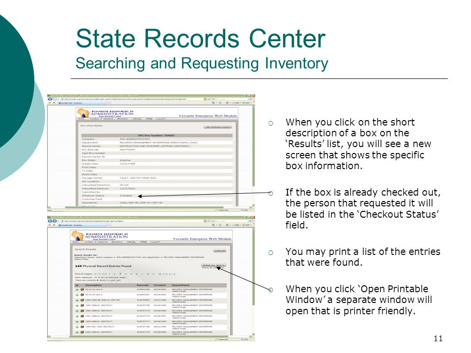 11 State Records Center Searching and Requesting Inventory  When you click on the short description of a box on the 'Results' list, you will see a ne