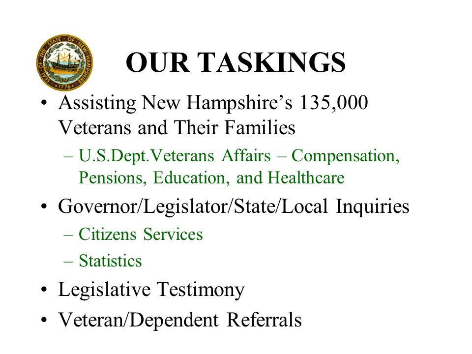 OUR TASKINGS Assisting New Hampshire's 135,000 Veterans and Their Families –U.S.Dept.Veterans Affairs – Compensation, Pensions, Education, and Healthcare Governor/Legislator/State/Local Inquiries –Citizens Services –Statistics Legislative Testimony Veteran/Dependent Referrals