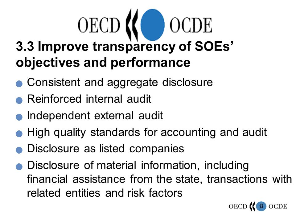 9 3.4 Strengthen and empower SOE boards Structured and skill-based nomination process Clear mandate and full responsibility Able to appoint CEO Able to exercise independent judgment –limit number of state representatives on the board –separation between Chair and CEO Systematic evaluation of board
