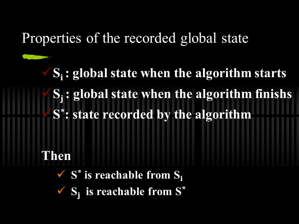 Properties of the recorded global state S i : global state when the algorithm starts S j : global state when the algorithm finishs S * : state recorded by the algorithm Then S * is reachable from S i S j is reachable from S *