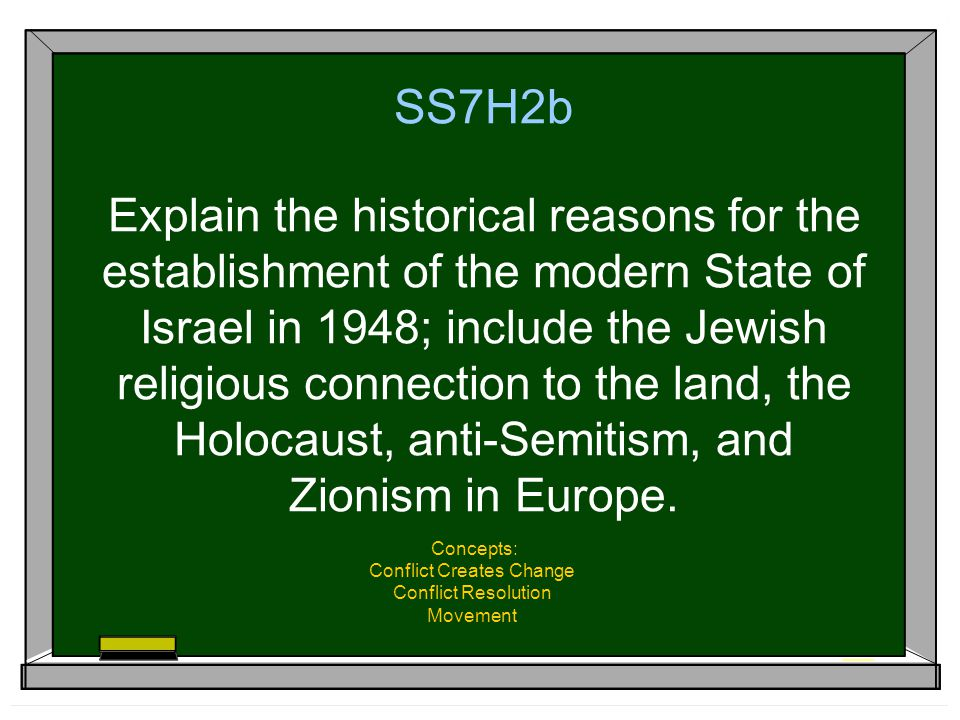 SS7H2b Explain the historical reasons for the establishment of the modern State of Israel in 1948; include the Jewish religious connection to the land