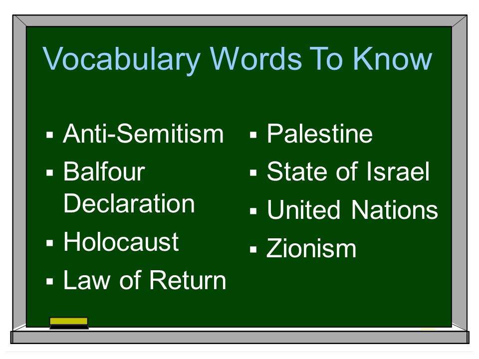 Vocabulary Words To Know  Anti-Semitism  Balfour Declaration  Holocaust  Law of Return  Palestine  State of Israel  United Nations  Zionism