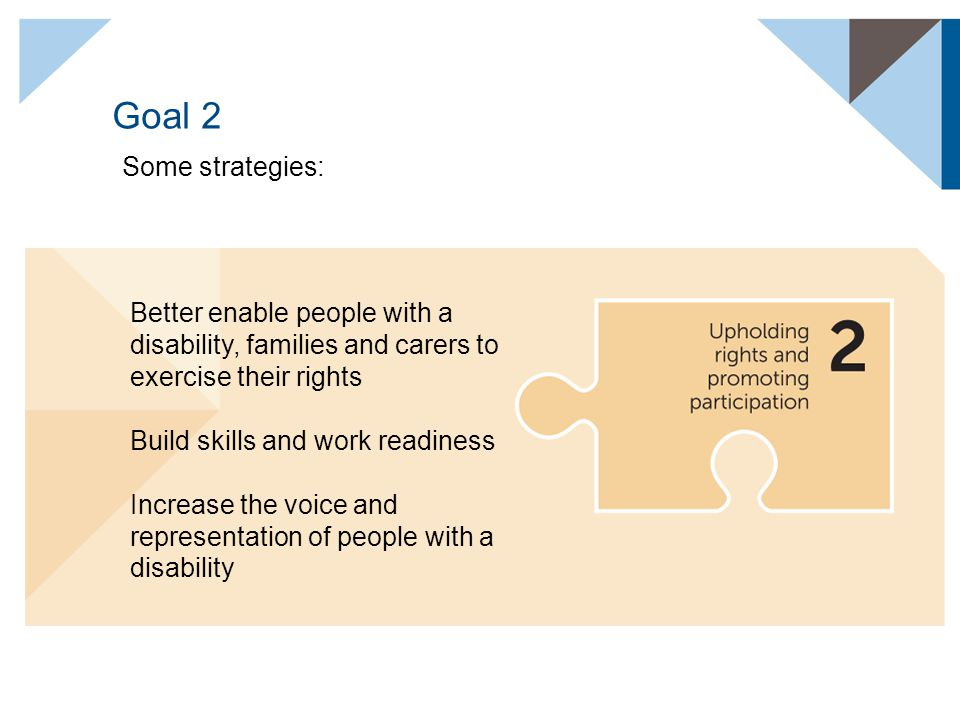 Goal 2 Some strategies: Better enable people with a disability, families and carers to exercise their rights Build skills and work readiness Increase