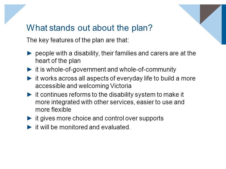 What stands out about the plan? The key features of the plan are that: ►people with a disability, their families and carers are at the heart of the pl