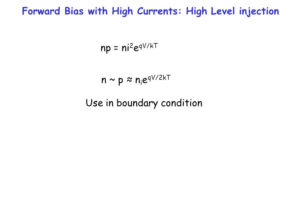 Forward Bias with High Currents: High Level injection np = ni 2 e qV/kT n ~ p ≈ n i e qV/2kT Use in boundary condition