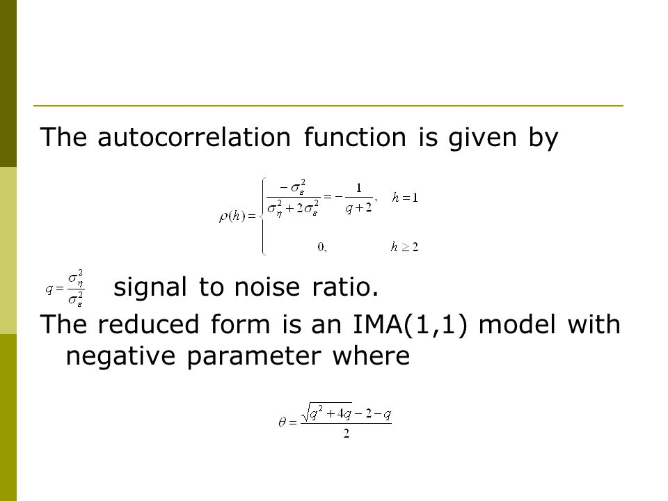 The autocorrelation function is given by signal to noise ratio.
