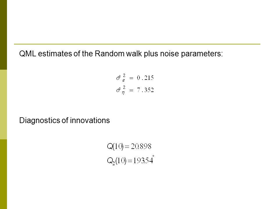 QML estimates of the Random walk plus noise parameters: Diagnostics of innovations