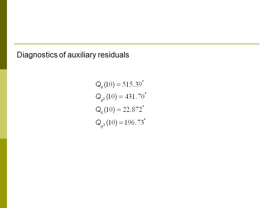 Diagnostics of auxiliary residuals