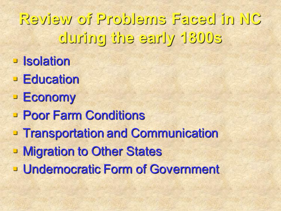 Review of Problems Faced in NC during the early 1800s  Isolation  Education  Economy  Poor Farm Conditions  Transportation and Communication  Mi