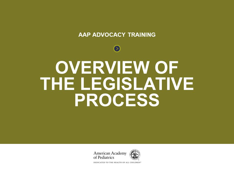 OVERVIEW OF THE LEGISLATIVE PROCESS OVERVIEW OF THE LEGISLATIVE PROCESS AAP ADVOCACY TRAINING