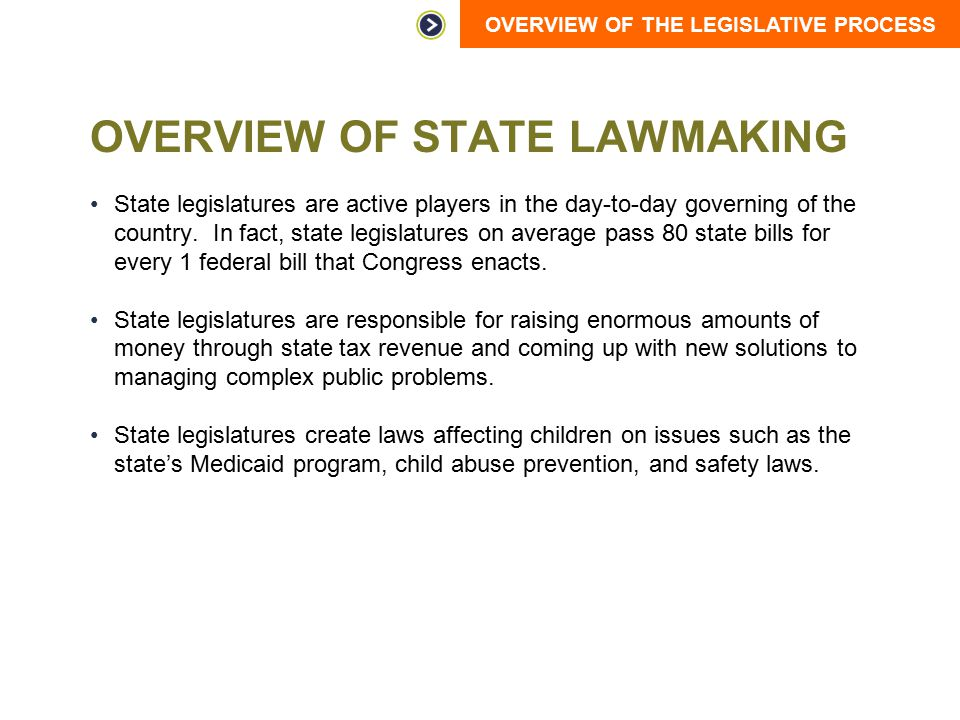 OVERVIEW OF THE LEGISLATIVE PROCESS OVERVIEW OF STATE LAWMAKING State legislatures are active players in the day-to-day governing of the country. In f