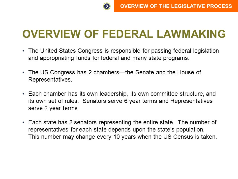 OVERVIEW OF THE LEGISLATIVE PROCESS OVERVIEW OF FEDERAL LAWMAKING The United States Congress is responsible for passing federal legislation and approp