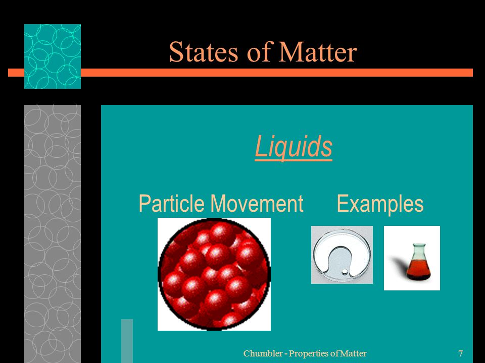 Chumbler - Properties of Matter8 States of Matter Gases PParticles of gases are very far apart and move freely.