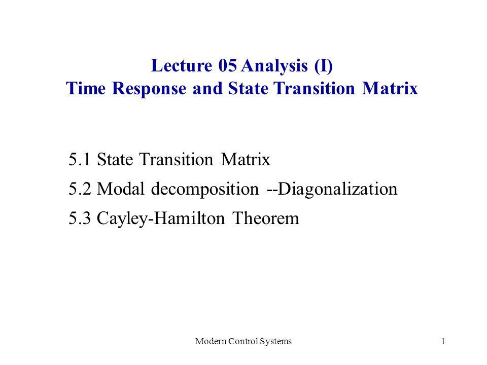Modern Control Systems22 Method 3: Cayley-Hamilton Theorem Theorem: Every square matrix satisfies its char.