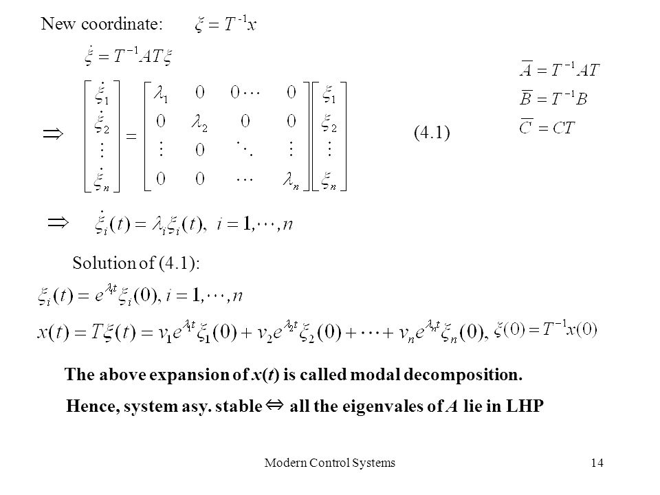 Modern Control Systems14 Hence, system asy. stable ⇔ all the eigenvales of A lie in LHP New coordinate: Solution of (4.1): (4.1) The above expansion o
