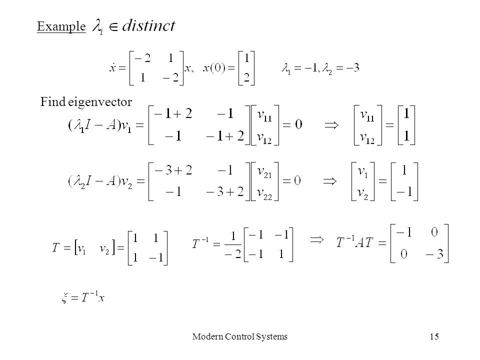 Modern Control Systems15 Example Find eigenvector