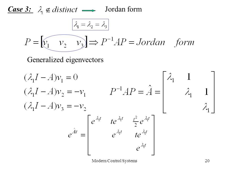 Modern Control Systems20 Case 3:Jordan form Generalized eigenvectors