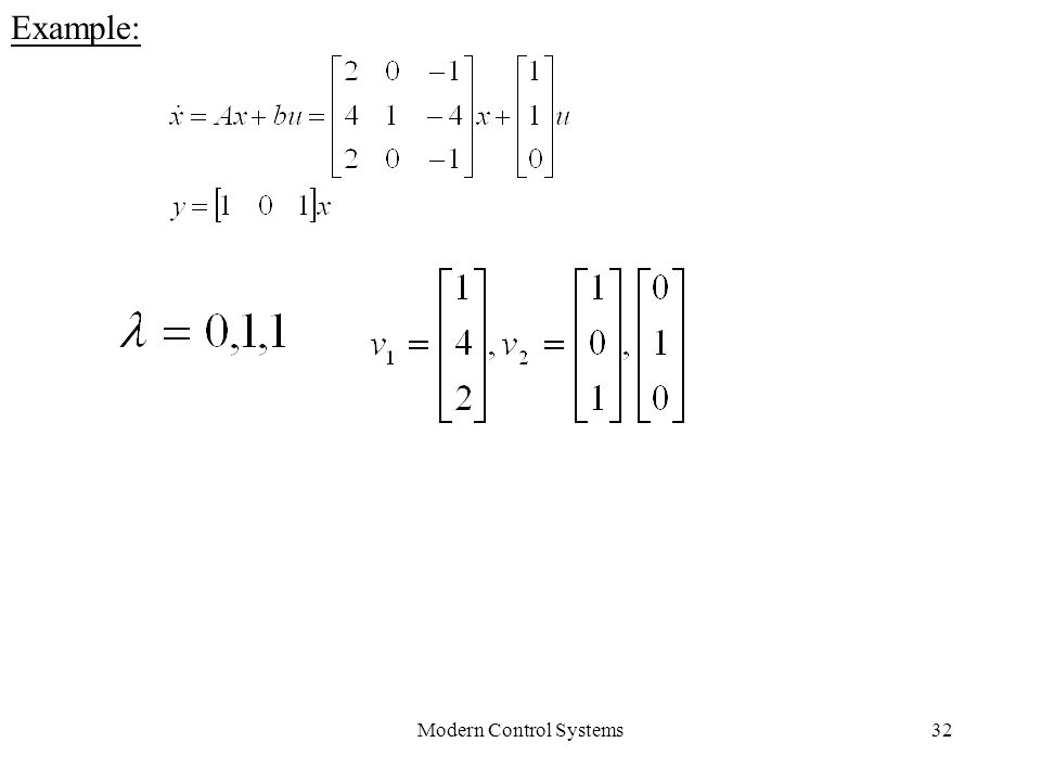 Modern Control Systems32 Example:
